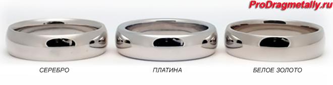Кольца из серебра, платины и белого золота