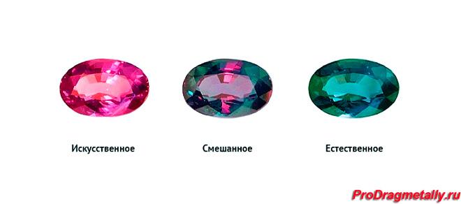 Ограненный александрит при разных источниках освещения