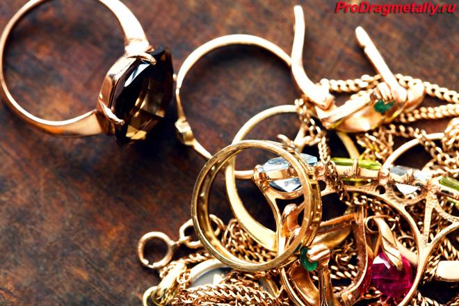 Золотые кольца, цепи и серьги