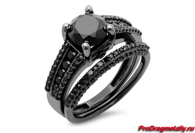 Кольцо из черного родия