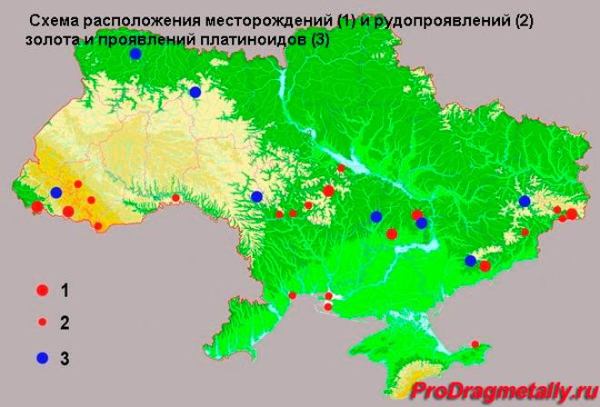 Карта золото в Украине