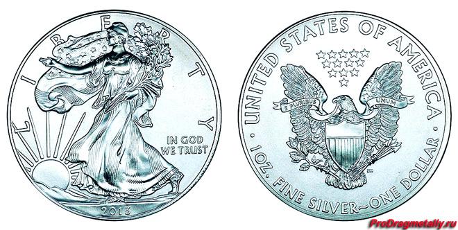 Американская серебряная монета весом в 1 унцию
