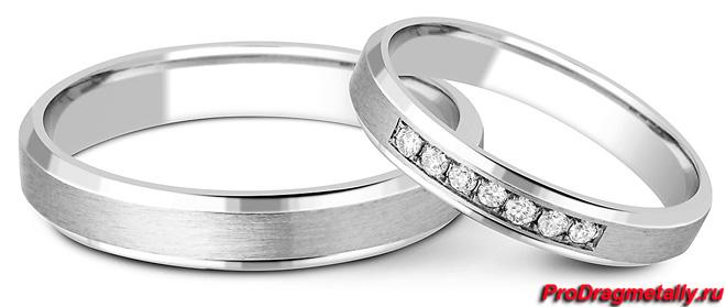 Обручальное кольцо из палладия с бриллиантами