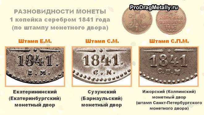 Разновидности 1 копейки серебром 1841 года стоимость