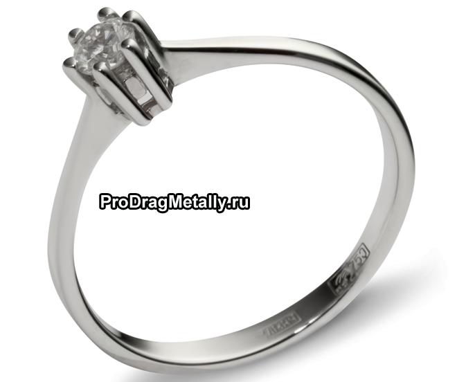 Кольцо с бриллиантом 750 пробы