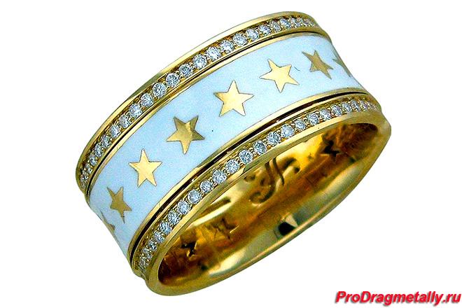 Обручальное кольцо из желтого золота 750 пробы с бриллиантом