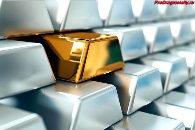 Серебряные и золотой слитки